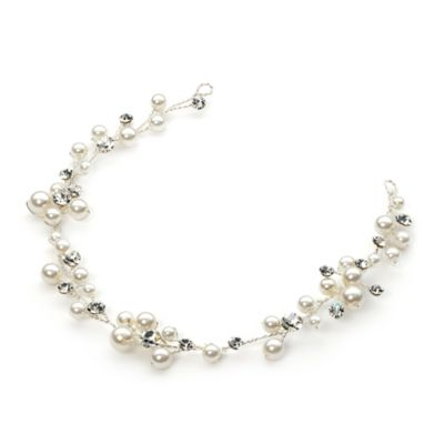 Scattered Pearl Vine Headband in Silvertone