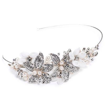 Maya Rhinestone Floral Side Headband in Silvertone