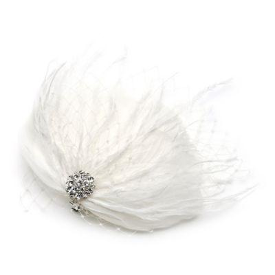 Josephine Feather Fascinator Hair Clip in Silvertone