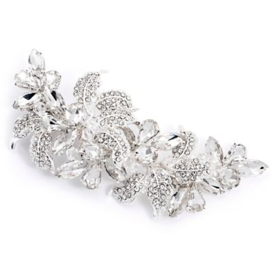 Anna Swarovski® Crystal and Rhinestone Floral Hair Clip in Silvertone