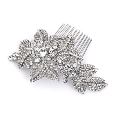 Hallie Antique Rhinestone Floral Hair Comb in Silvertone