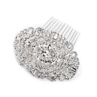 Miranda Rhinestone Art-Deco Oval Hair Comb in Silvertone