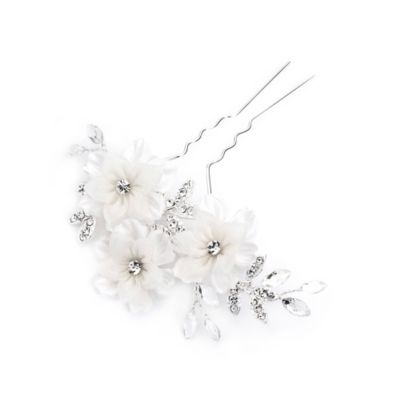 Savannah White Tulle and Rhinestone Floral Hair Pin in Silvertone