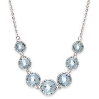Badgley Mischka® Sterling Silver Swiss Blue Topaz Wrapped Necklace