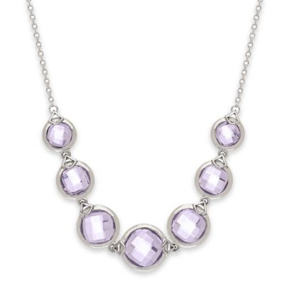 Badgley Mischka® Sterling Silver Amethyst Wrapped Necklace