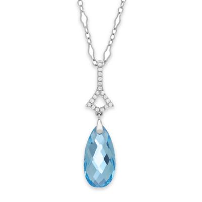 Badgley Mischka® Sterling Silver White and Blue Topaz 18-Inch Chain Briolette Drop Necklace