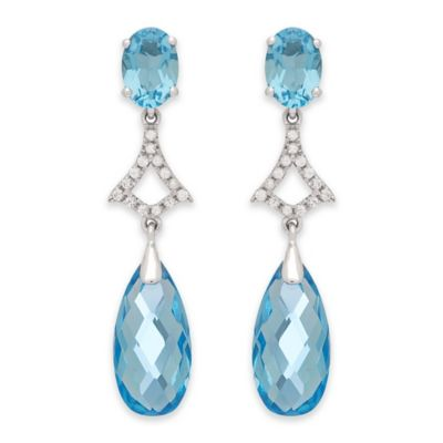 Badgley Mischka® Sterling Silver White Topaz and Blue Topaz Oval Dangle Earrings