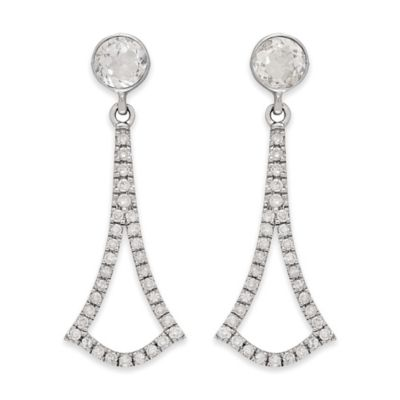 Badgley Mischka® Sterling Silver .27 cttw Diamond and White Topaz Arabesque Drop Earrings