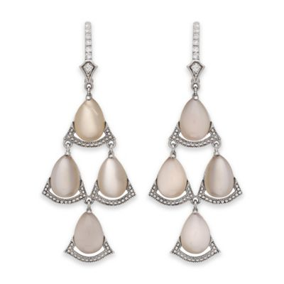 Badgley Mischka® Sterling Silver Grey Moonstone and White Topaz Chandelier Dangle Earrings