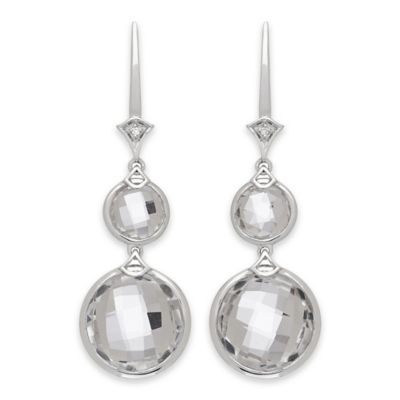 Badgley Mischka® Sterling Silver .02 cttw Diamond and White Quartz Round Drop Dangle Earrings