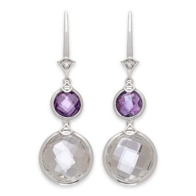 Badgley Mischka® Sterling Silver .02 cttw Diamond White Quartz and Amethyst Round Drop Earrings