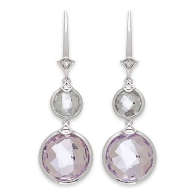 Badgley Mischka® Sterling Silver .02 cttw Diamond Green and Light Amethyst Drop Earrings
