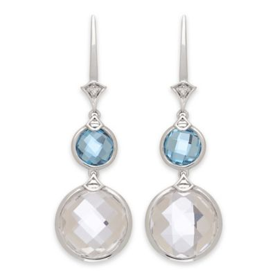 Badgley Mischka® Sterling Silver .02 cttw Diamond, Quartz and Blue Topaz Round Drop Earrings