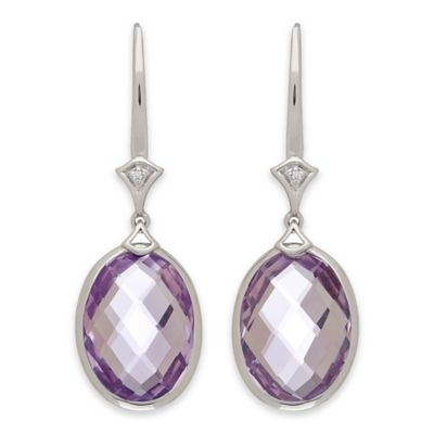 Badgley Mischka® Sterling Silver .01 cttw Diamond and Light Amethyst Oval Drop Earrings