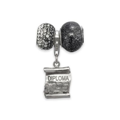Personality Sterling Silver 3-Piece Diploma Charm and Bead Set