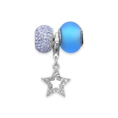 Personality Sterling Silver and Glass Crystal 3-Piece Star Charm and Beads Set