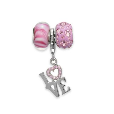 "Personality Sterling Silver and Crystal 3-Piece ""Love"" Charm and Bead Set"