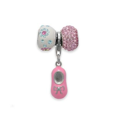 Personality Sterling Silver and Enamel 3-Piece Pink Baby Bootie Charm and Bead Set