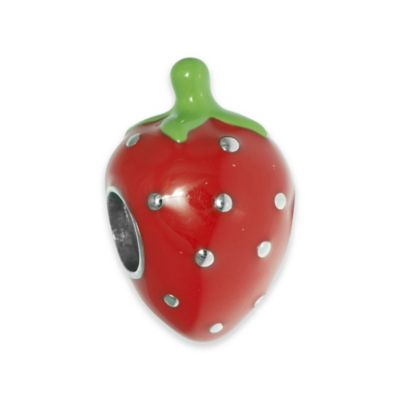 Personality Sterling Silver and Enamel Strawberry Bead