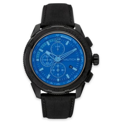 Nautica® 48mm Blue Crystal Chronograph Watch in Black Stainless Steel w Black Leather Strap