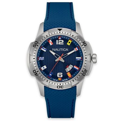 Nautica® Flags Men's 43mm Navy Dial Watch in Stainless Steel with Navy Silicone Strap
