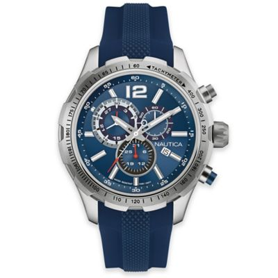 Nautica® Men's 45mm Navy Dial Chronograph Watch in Stainless Steel with Navy Silicone Strap