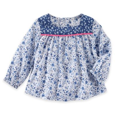 OshKosh B'gosh® Size 3M Poplin Floral Long Sleeve Top in Blue/Pink
