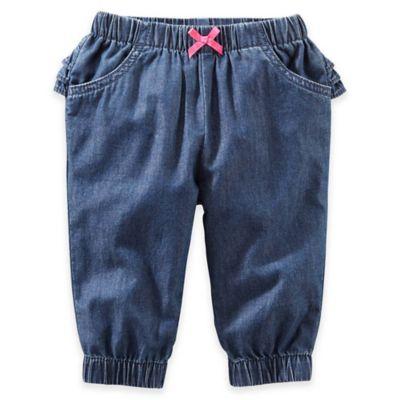 OshKosh B'gosh® Size 9M Chambray Pant with Ruffle in Denim Blue