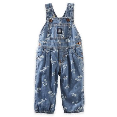 OshKosh B'gosh® Size 6M Denim Flower Print Overall in Light Blue