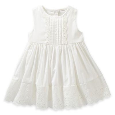 OshKosh B'Gosh® Size 3M 2-Piece Embroidered Sleeveless Dress and Diaper Cover Set in White