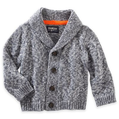 OshKosh B'gosh® Size 12M Marled Yarn Cardigan in Navy