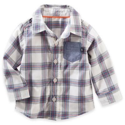 OshKosh B'gosh® Size 3M Long-Sleeve Button-Down Shirt in Plaid