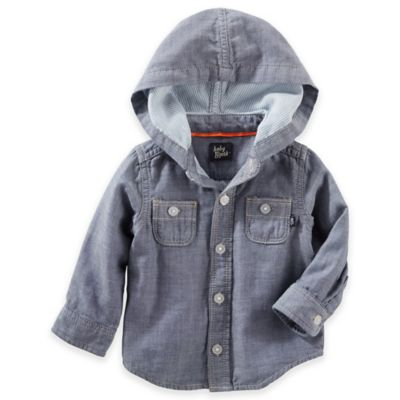 OshKosh B'gosh® Size 6M Hooded Long Sleeve Chambray Shirt in Denim Blue