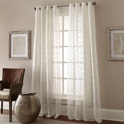 Manhattan Sheer 63-Inch Grommet Top Window Curtain Panel in White