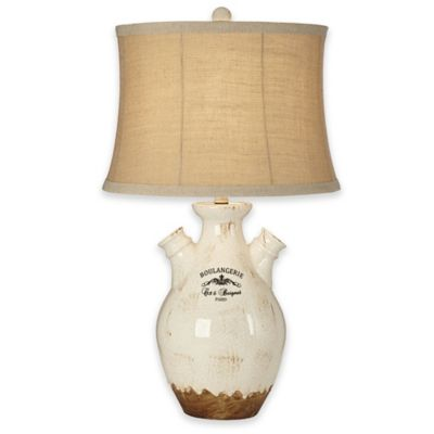 Pacific Coast® Lighting Boulangerie Table Lamp in Green with Linen Trim Burlap Drum Shade