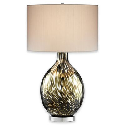Pacific Coast® Lighting Keturah Table Lamp in Decorated Brown with Silk Drum Shade