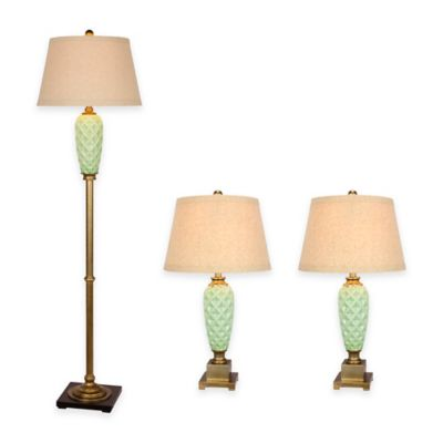 Fangio Lighting 3-Piece Ceramic Pineapple Lamp Set in Antique Gold/Pale Blue