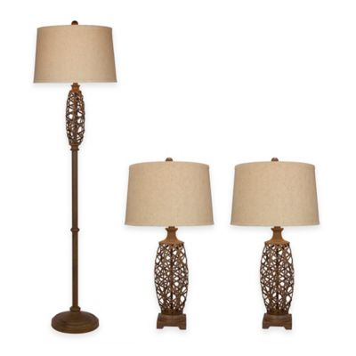 Fangio Lighting 3-Piece Metal Cage Lamp Set in Nature Finish
