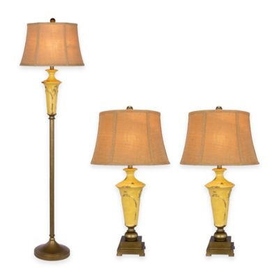 Fangio Lighting 3-Piece Ceramic Lamp Set in Antique Bronze Metal/Yellow Crackle Finish