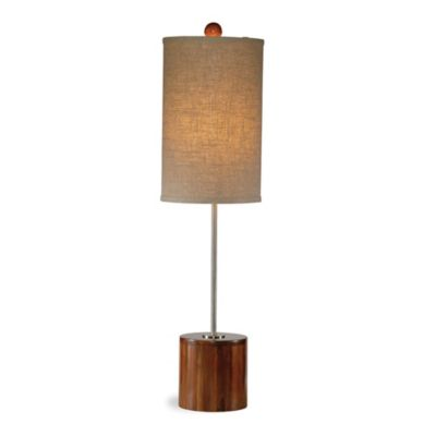The Bassett Mirror Company Mellon Table Lamp in Bamboo with Fabric Shade