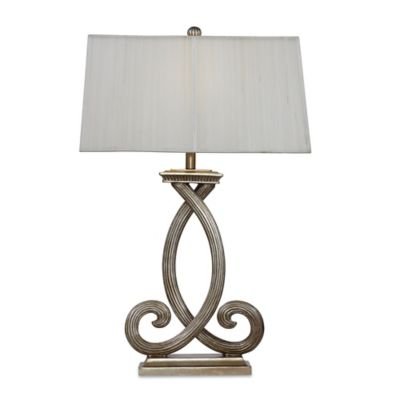 Bassett Mirror Company Nala Table Lamp in Antique Silver with Fabric Shade