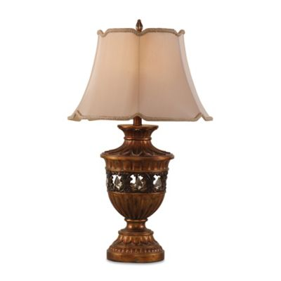 Bassett Mirror Company Mardigras Table Lamp in Antique Gold with Scalloped Bell Shade