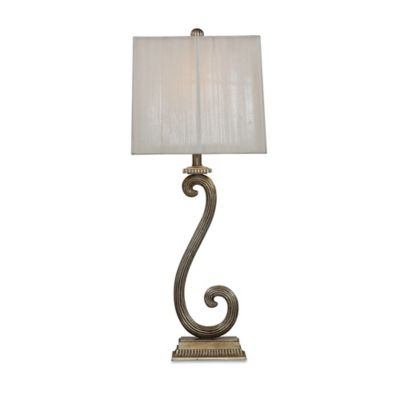 Bassett Mirror Company Stafford Table Lamp in Antique Silver with Fabric Shade