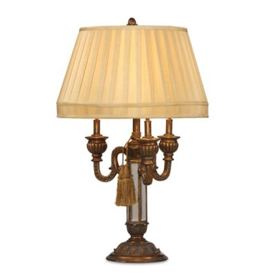 Bassett Mirror Company Empress Table Lamp in Antique Gold with Fabric Shade