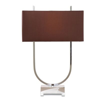 Bassett Mirror Company Quasar Table Lamp in Chrome with Brown Fabric Shade