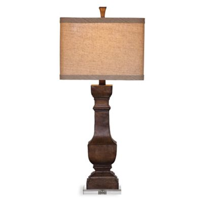 Bassett Mirror Company Walden Table Lamp in Brown with Fabric Shade