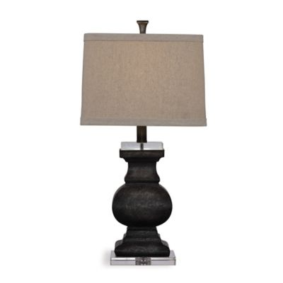 Bassett Mirror Company Carmel Table Lamp in Black with Fabric Shade