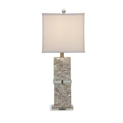 Bassett Mirror Company Bridget Table Lamp in Mother of Pearl with Faux Silk Shade