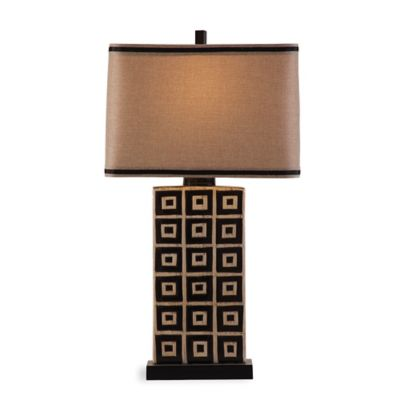 Bassett Mirror Company Lakota Table Lamp in Black/Tan with Fabric Shade
