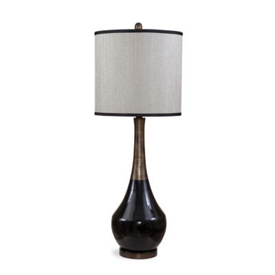 Bassett Mirror Company Babson Table Lamp in Black/Antique Silver with Fabric Shade